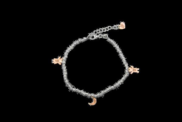 Bracciale con tubini battuti e cuoricino in argento rosato