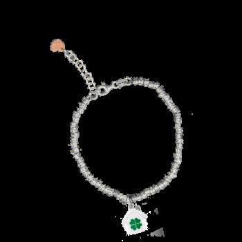 Bracciale argento con tubini battuti e cuoricino rosato