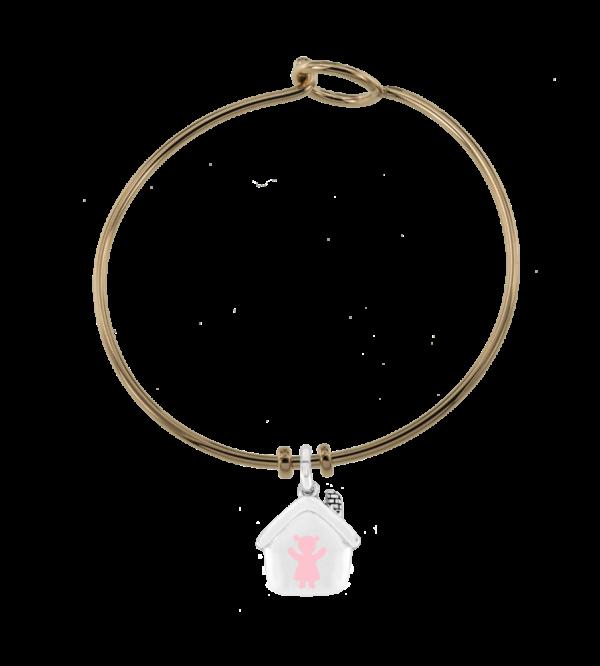 Bracciale rigido rosato argento