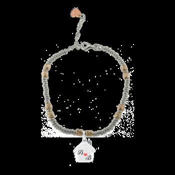 Bracciale ciambelline e intercalari rosati in argento 925