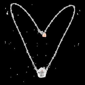 Collana rosario con cuoricino in argento rosato