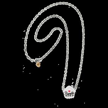Collana Rolò Vuota argento 925 con cuoricino rosato