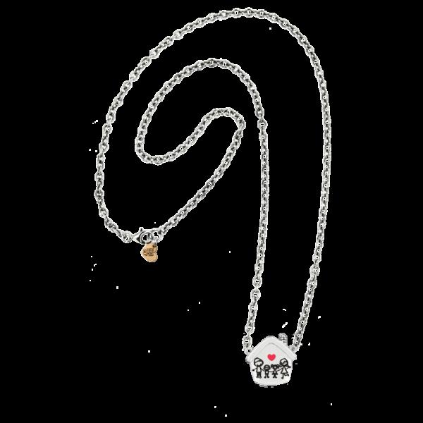 Collana rolò vuota argento con cuoricino rosato a lastra con logo aziendale alla chiusura. Realizzato in argento 925.