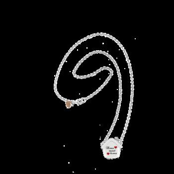 Collana Rolò Piena argento 925 con cuoricino rosato