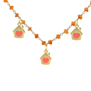Collana argento dorato 925 con pietre dure corallo