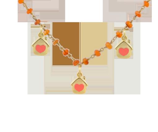 Collana Mamesò in argento 925 e pietre dure corallo