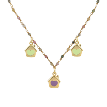 Collana argento 925 dorato con pietre dure multicolore