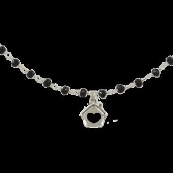 Collana argento rodiato 925 con pietre dure nere