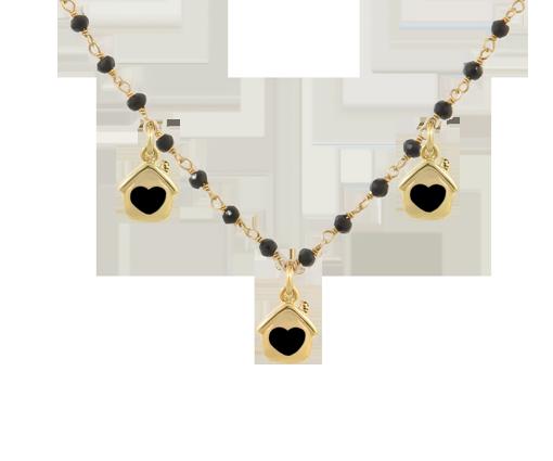 Collana argento 925 con pietre nere