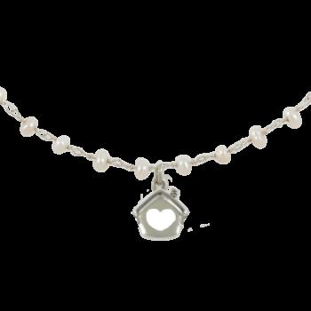 Collana argento 925 rodiato con perle naturali
