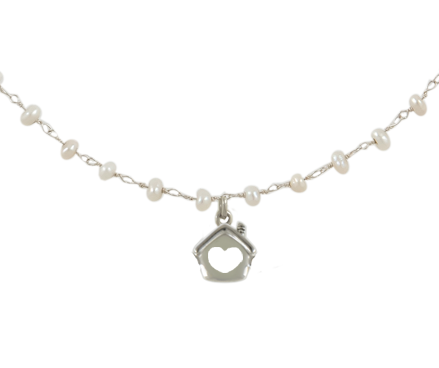 Collana argento 925 con ciondolo perle